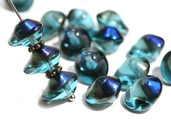 Ocean Blue Saucer beads, Dark Blue Black finish, UFO shape, Czech glass pressed chunky bicone beads, 7x11mm - 15Pc - 1470