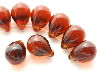 10x14mm Brown Topaz czech glass Teardrop beads, large Briolettes, drop beads - 6Pc - 1948