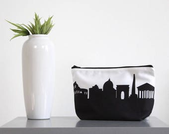ROME ITALY Skyline Cosmetic Bag. Skyline Makeup Bag. Twill Makeup Bag. Skyline Silhouette Purse. Gifts for Her.