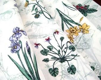 "Vintage Oval Tablecloth, Flower Print, Gardening Theme, Light Weight Cotton, Near Mint 69.5"" x 68"""