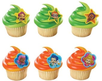 24 Bubble Guppies - Gil, Molly & Gang Cupcake Rings Cake Toppers Decorations Party Favors Supplies