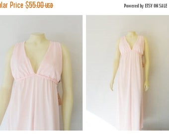 SALE Vintage Nightgown Gilead Pretty in Pink Gown Braided Rope Tie V Neck Deadstock NWT made in Usa size 34 Modern Medium