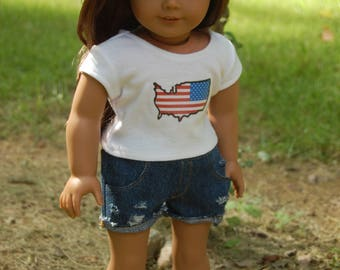 SALE-2 piece-fits American Girl Doll clothes/18- inch doll clothes,denim distressed shorts/flag tee/doll outifit/'Merica