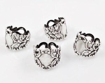 Antiqued Silver Ring, Filigree Ring, Adjustable Ring, Brass Filigree Ring, Antiqued Silver Filigree, Ring Blank, 17mm x 20mm  -4 pcs.(sl165)