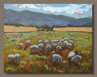 landscape painting, impressionist painting, sheep painting, small art, farm animals painting, Eastern Townships, Quebec, field, gift