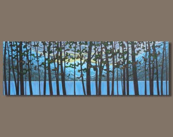 FREE SHIP abstract art, tree painting, panoramic painting, winter, forest painting, mountains, nocturn, night painting, impressionist