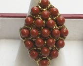 Vintage Burnt Sienna Painted Glass Beads Diamond Shape Gold Textured Mid Century Adjustable Costume Jewelry Ring Gift For Her Best Deal