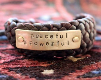 mens leather bracelet, yoga bracelet, guys bracelet, inspiration bracelet, leather cuff, braided leather bracelet, peaceful & powerful cuff