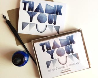 Set of 8 Cards: Blue Deco Thank You