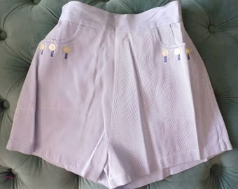HIGH WAISTED vintage PINUP shorts blue striped nautical buttons 40's 50's xs