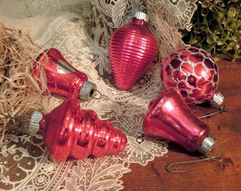 Five Vintage Red Mercury Glass Ornaments / Silver Red Ornaments / Two Shiny Brite