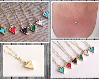 Stone Triangle Necklace, Gold Filled Necklace, Colorful Stone Triangle Pendant Necklace, Reversible Minimalist Necklace, Dainty Necklace