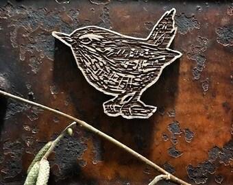 Wooden wren brooch