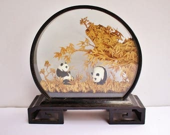 Chinese Asian Vintage 70s Hand Carved Diorama Panda Bear Bamboo Glass Lacquer Wood Framed Figurine Display, SAN YOU