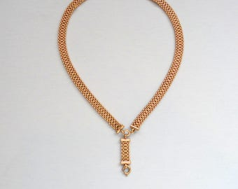 Victorian Watch Chain Necklace. Wide Mesh.