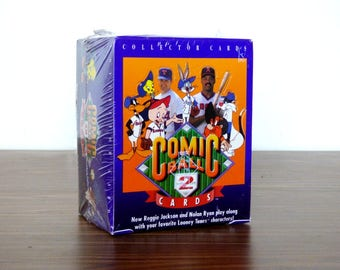 1991 Comic Ball 2 Cards Box Looney Tunes Opened Sealed Pack Baseball Upper Deck
