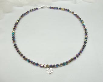 Black Necklace Rainbow Necklace Mystic Topaz Necklace Heart Necklace Crystal Necklace Adjustable Necklace Sterling Silver BuyAny3+1 Free