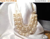 50% Off Sale Four Strand Designer Signed C White Bead Bauble Choker Fashion Statement Necklace