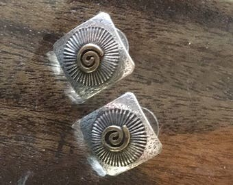 Signed sterling silver and gold artist made earrings
