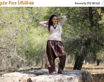 ON SALE Brown Harem pants, Women's Drop Crotch Trousers, Regular, Tall, Plus size, Custom Made