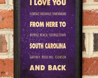 South Carolina SC I Love You From Here And Back Wall Art Sign Plaque Gift Present Personalized Custom Color Home Decor Vintage Style Classic