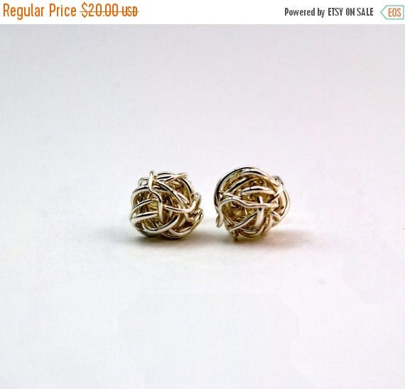 ON SALE Sterling Silver Post Earrings - Love Knot - Tie the Knot - Bridesmaid Jewelry - Bridesmaid Earrings