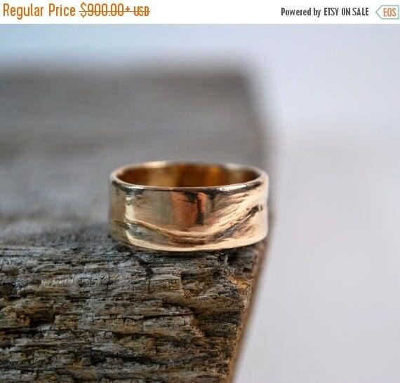 ON SALE Mens Wedding Band - Mens Wedding Ring - 14K Gold Mens Wedding Band - Mens Gold Wedding Ring - Mens Rings