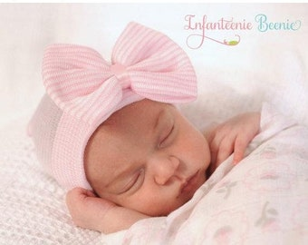 SALE 25% OFF NEWBORN Hat with Bow, newborn girl hospital hat, newborn girl hat, newborn girl, hospital hat with bow