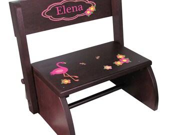 Personalized Espresso Flip and Folding Step Stool with Pink Flamingo Design-stoo-esp-342