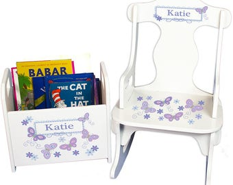 Personalized Puzzle Rocker and Book Caddy set with Lavender Butterflies Design-rknrd-300b