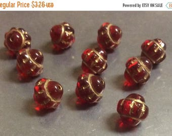 ON SALE Czech Glass Mulberry Bead 10mm Red Gold Inlay QTY 10