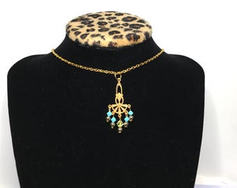 Gypsy Pendant, turquoise beads, Gold Tone, Matching Necklace, Clearance Sale, Item No. B390b
