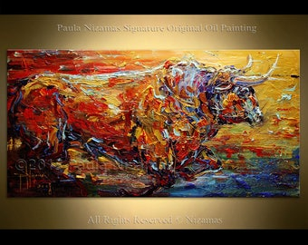 Original Painting Bull in Red Oil texture on canvas from Paula Nizamas Animal art interior design art ready to hang