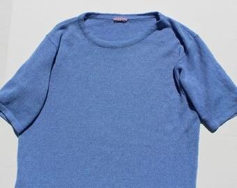 Vintage knit tshirt- slouchy pastel blue -knitted t shirt- tee - medium/Large 38