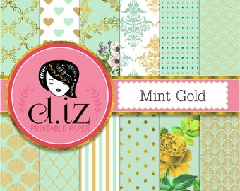 Mint and gold digital paper, mint and gold backgrounds 'minty gold' 12 green and gold printable papers