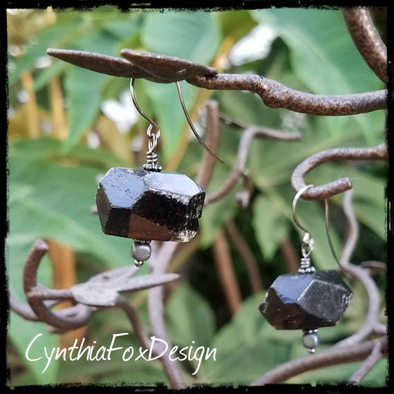 Black Tourmaline Chunky Earrings
