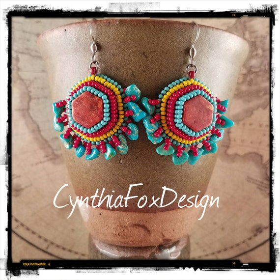 Bright Colorful Turquoise Fringe and Red Coral Earrings