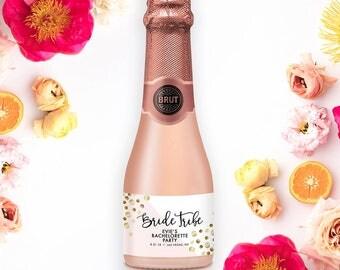 Bride Tribe MINI CHAMPAGNE LABELS Bachelorette Party Gift Party Favors Hens Party Champagne Label Sticker Bride Tribe Party Labels - Evie
