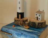 Stepping Stone Driftwood Art Sculpture with Lighthouse and Cottage