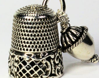 Antique Solid Sterling Silver Thimble and Acorn Kisses Peter Pan and Wendy Necklace
