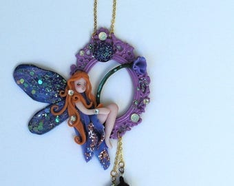 Peter Pan Tinkerbell Purple Dragonfly Fairy Ornament Wall Hanging
