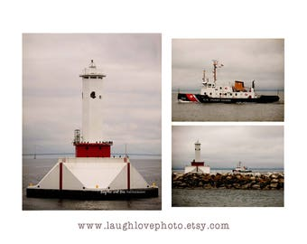 Us Coast Guard Photo Print Set Nautical Travel Photography Red Gray Lake Picture