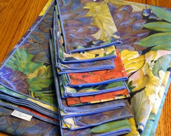 Vintage Rectangle French Tablecloth  56 X 46 with 10 Napkins Blue Red Purple Gold & Green Florals Cloth  By ~ Bassetti of Italy