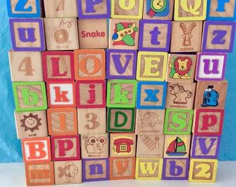 Wooden Blocks - 49 Vintage Blocks - Collectible blocks - picture blocks -  toddler toys - Baby Blocks - Nursery Decor - Classic Children