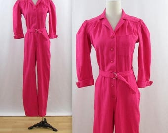 SALE Pretty in Pink Jumpsuit - Vintage 1980s Women's Cotton One Piece Pantsuit in Medium by Sears
