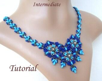MONIQUE beaded necklace beading tutorial beadweaving pattern  superduo seed bead beadwork jewelry beadweaving instructions