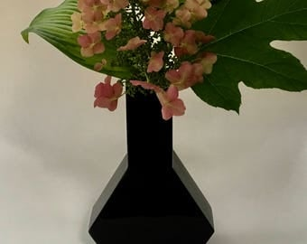 Chic Vintage Black Glass Vase, Geometric Shape