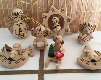 """Vintage 90's  """"ALL WOOD ORNAMENTS""""  Lot of 7 -  Hand Crafted"""