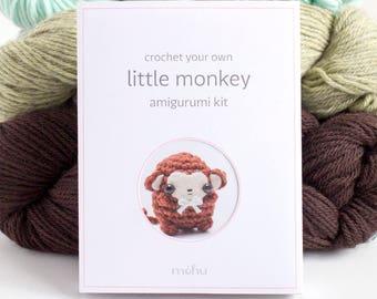 crochet kit - amigurumi monkey diy craft kit