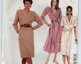 Mock Wrap Dress With Collar Front And Back Waistline Pleats Size 10 12 14 Sewing Pattern 1987 McCall's 3379